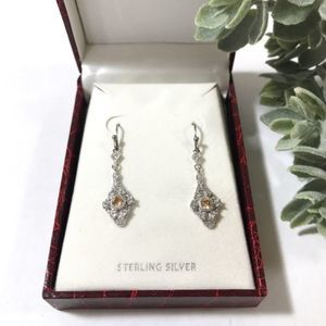 Sterling Silver Earrings with Citrine Stone NIB